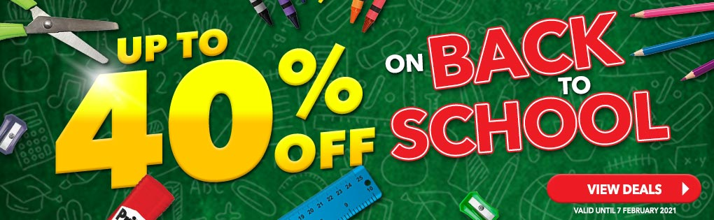 UP TO 40% OFF ON BACK TO SCHOOL