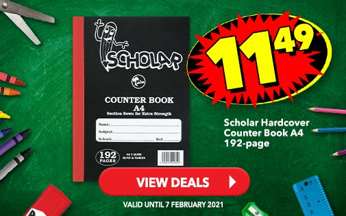SCHOLAR HARDCOVER COUNTER BOOK A4 192-PAGE, 11,49