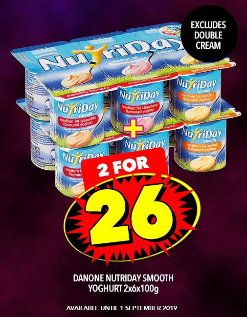 DANONE NUTRIDAY SMOOTH YOGHURT 2x6x100g, 2 FOR 26